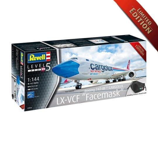 """Revell 1/144 Boeing 747-8F CARGOLUX LX-VCF """"Facemask"""" Limited Edition # 03836"""