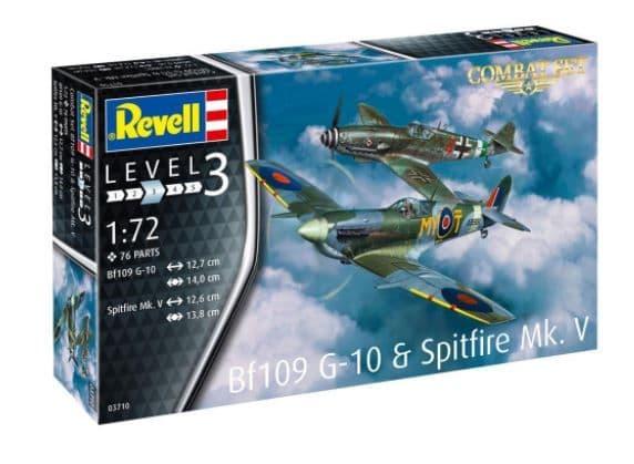 Revell 1/72 Messerschmitt Bf-109G-10 & Supermarine Spitfire Mk.V Combat Set # 03710