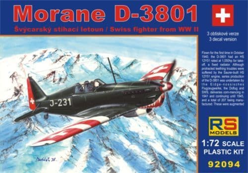 RS Models 1/72 Morane D-3801 WWII Swiss Fighter # 92094