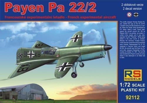 RS Models 1/72 Payen Pa.22/2 French Experimental Aircraft # 92112