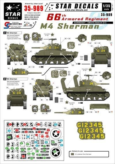 Star Decals 1/35 66th Armored Regiment in Normandy - M4 Sherman # STAR35989