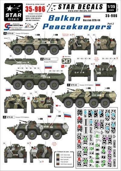 Star Decals 1/35 Balkan Peacekeepers Part 2 - Soviet BTR-80 # STAR35986