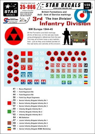Star Decals 1/35 British 3rd Infantry Division NW Europe # STAR35966