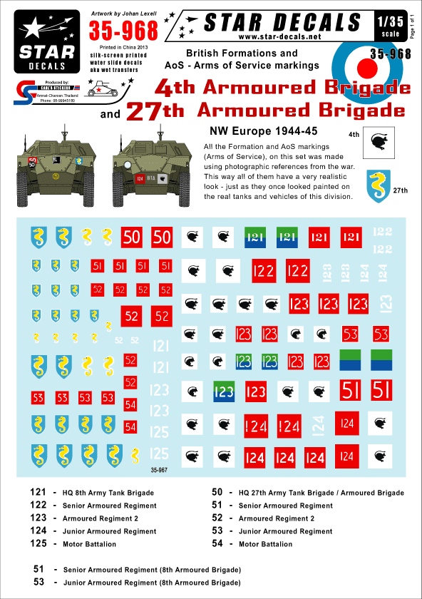 Star Decals 1/35 British 4th and 27th Armoured Brigade NW Europe # STAR35968