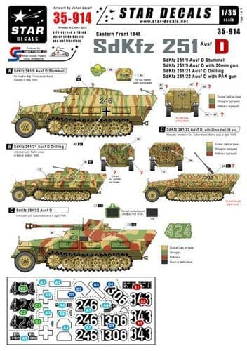 Star Decals 1/35 Eastern front 1945 German Sd.Kfz.251 Ausf.D # STAR35914