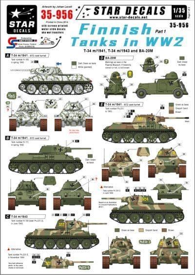 Star Decals 1/35 Finnish Tanks in WW2 # STAR35956