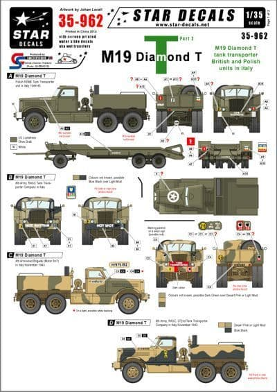 Star Decals 1/35 M19 Diamond Tank transporter Part 2 # STAR35962