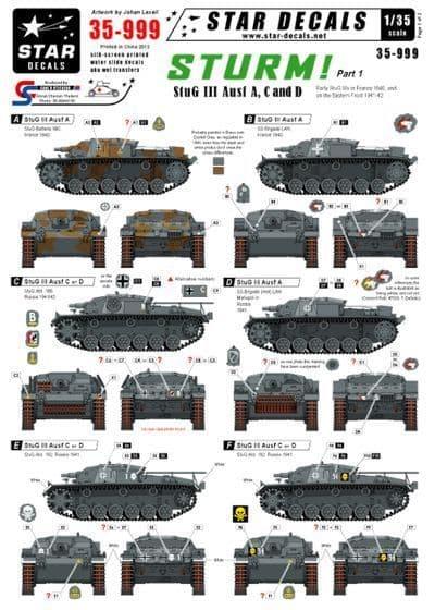 Star Decals 1/35 Sturm Part 1 - StuG III Ausf A, C and D # STAR35999