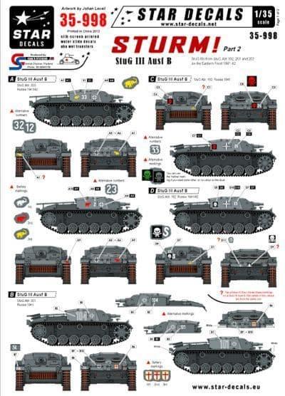 Star Decals 1/35 Sturm Part 2 StuG III Ausf B # STAR35998