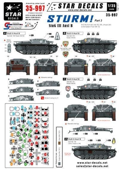 Star Decals 1/35 Sturm Part 3 StuG III Ausf B # STAR35997