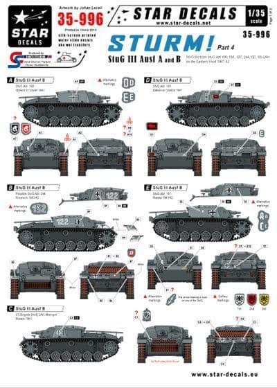 Star Decals 1/35 Sturm Part 4 - StuG III Ausf A and B # STAR35996