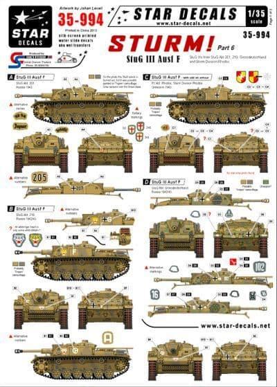 Star Decals 1/35 Sturm Part 6 StuG III and Ausf F # STAR35994