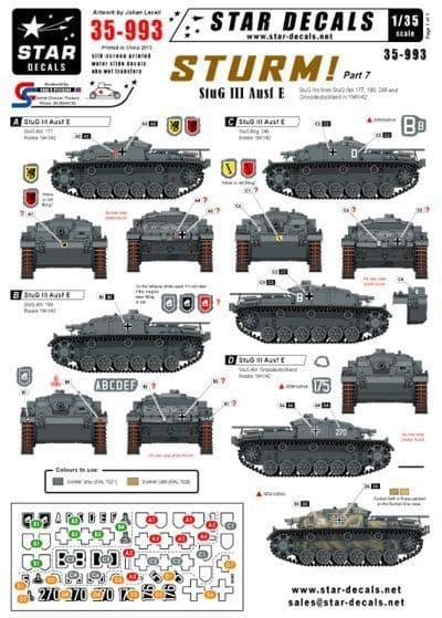 Star Decals 1/35 Sturm Part 7 StuG III and Ausf E # STAR35993