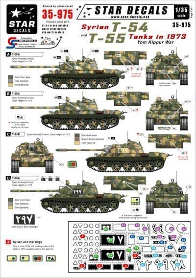 Star Decals 1/35 Syrian T-54 & T-55 Tanks in 1973 Yum Kippur War # STAR35975