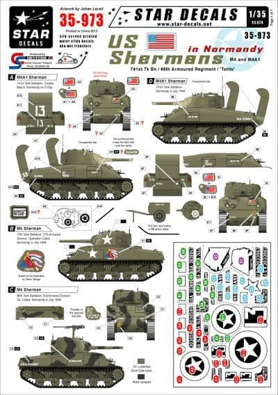 Star Decals 1/35 U.S. Shermans in Normandy # STAR35973