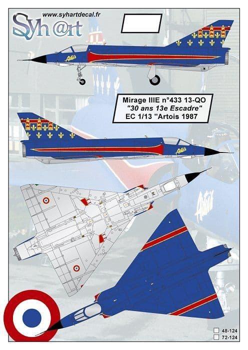 """Syhart Decal 1/72 Dassault Mirage IIIE 13-QO """"30 years of 13e Escadre"""" # 72124"""