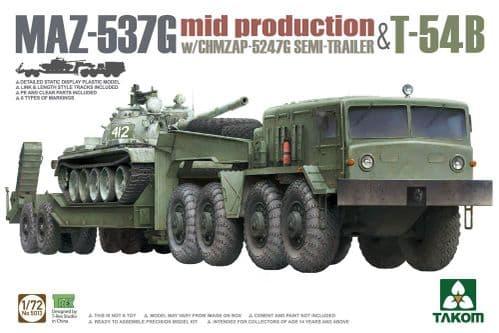 Takom 1/72 MAZ-537G w/ChMZAP-5247G Semi-Trailer Mid-Production & T-54B # 05013
