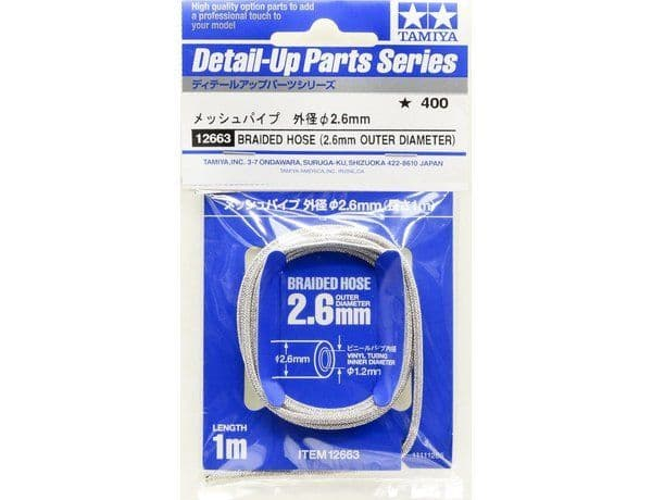 Tamiya Detail-Up Parts Braided Hose (2.6mm Outer Diameter) # 12663