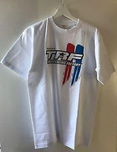 """Tamiya - (L) """"TRF"""" Stripe T-Shirt (White) # 67242"""