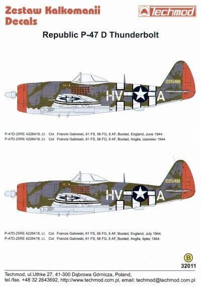 Techmod 1/32 Republic P-47D Thunderbolt Bubbletop # 32011DT