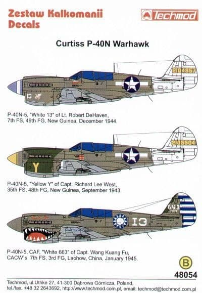 Techmod 1/48 Curtiss P-40N Warhawks (3) # 48054
