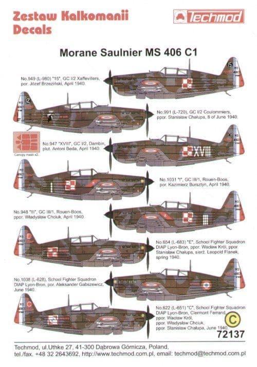 Techmod 1/72 Morane-Saulnier MS.406C1 Armee d l'Air flown by Polish Pilots 1940 # 72137