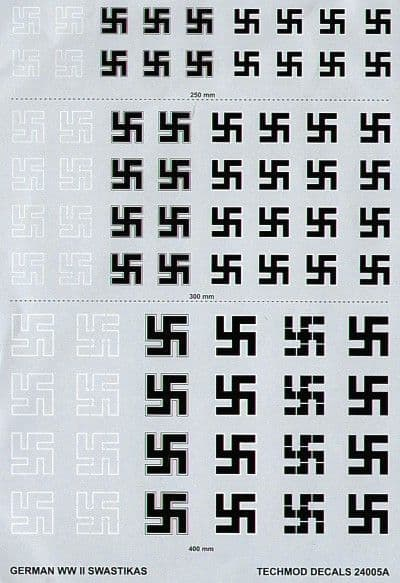 Techmod Decals 1/24 Luftwaffe/German WWII Swastikas # 24005