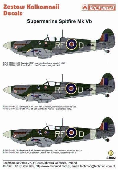 Techmod Decals 1/24 Supermarine Spitfire Mk.Vb # 24002