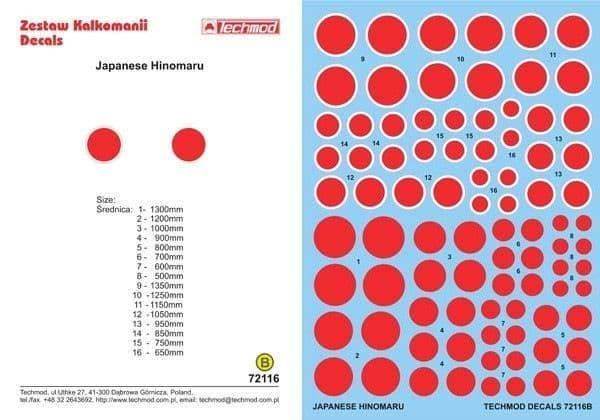 Techmod Decals 1/72 Japanese Hinomaru # 72116