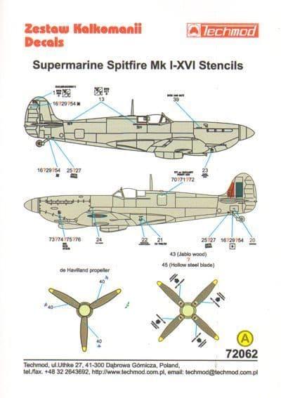 Techmod Decals 1/72 Supermarine Spitfire Stencil Data for 2 Aircraft # 72062