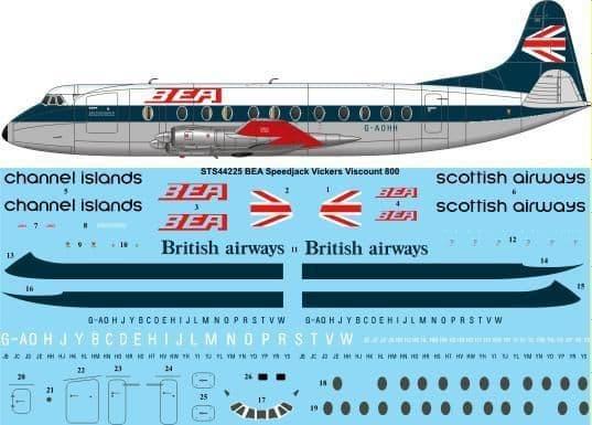 Twosix Silk 1/144 BEA Vickers Viscount 800 # STS44225