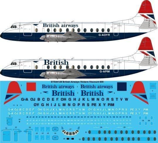 Twosix Silk 1/144 Vickers Viscount 800 British Airways G-AOYR # STS44128