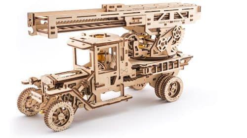 UGears Mechanical Model - Wooden Fire Truck with Ladder # 70022