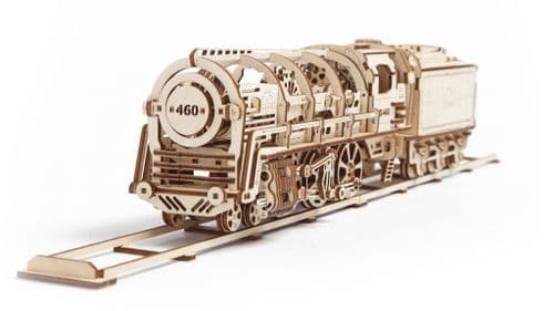 UGears Mechanical Model - Wooden Steam Locomotive with Tender # 70012