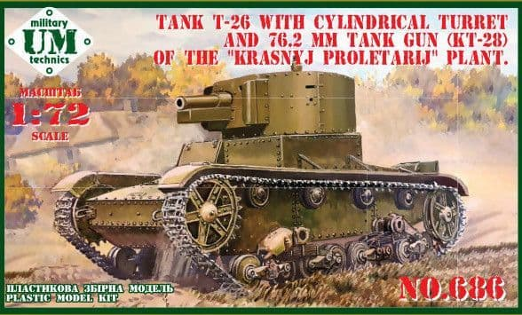 UM-MT 1/72 T-26 Tank with Cylindrical Turret & 76.2mm Tank Gun (KT-28) with Vinyl Tracks # 686