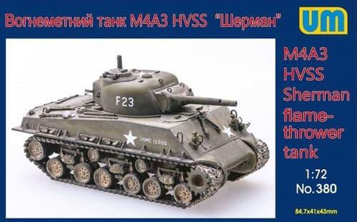 Unimodel 1/72 M4A3 HVSS Sherman Flame Thrower Tank # 380