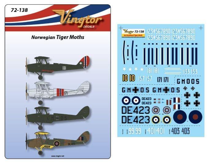 Vingtor 1/72 Norwegian de Havilland DH.82a Tiger Moth # 72138