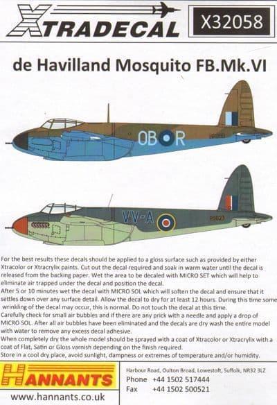 Xtradecal 1/32 de Havilland Mosquito FB.Mk.VI # 32058