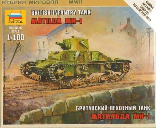 Zvezda 1/100 British Infantry Tank Matilda MK-I # 6191