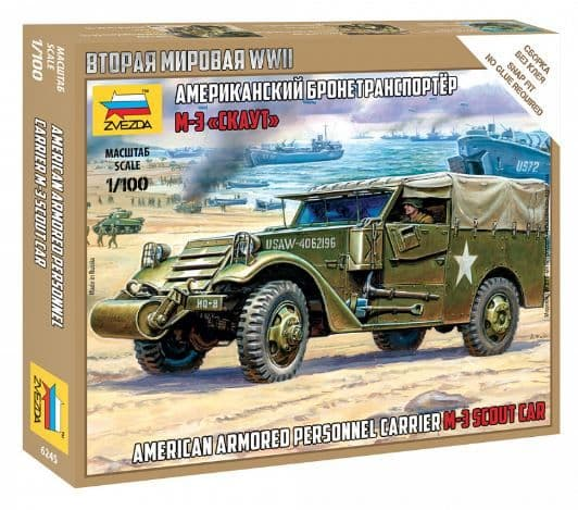 Zvezda 1/100 M-3 Scout Car American Armored Personnel Carrier # 6245