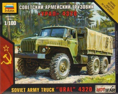 """Zvezda 1/100 Soviet Army Truck """"Ural"""" 4320 # 7417"""