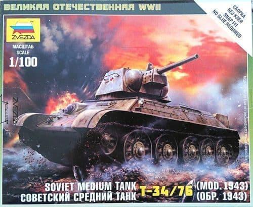 Zvezda 1/100 Soviet Medium Tank T-34/76 (Mod. 1943) # 6159