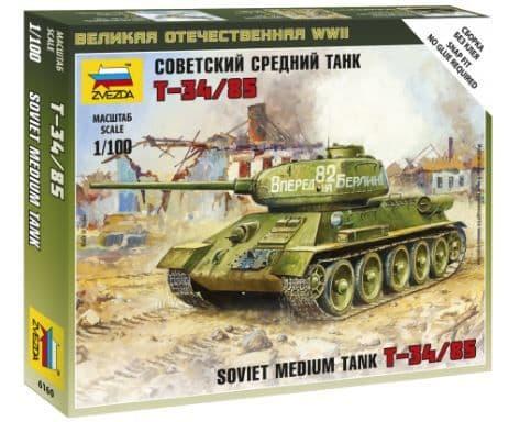 Zvezda 1/100 Soviet Medium Tank T-34/85 # 6160