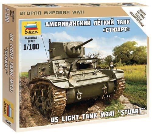"""Zvezda 1/100 US Light Tank M3A1 """"Stuart"""" # 6265"""