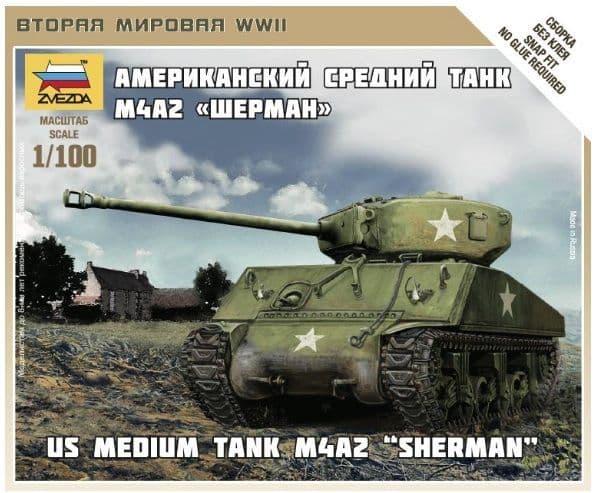 Zvezda 1/100 US Medium Tank M4A2 Sherman # 6263