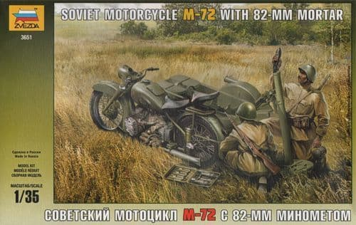 Zvezda 1/35 Soviet Motorcycle M-72 with Mortar # 3651