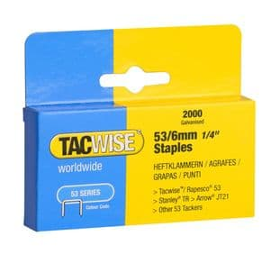Tacwise 0334 53/6mm Galvanised Staples (2,000)