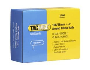 TACWISE 16G X 38MM GALVANISED ANGLED FINISH NAILS (2,500)
