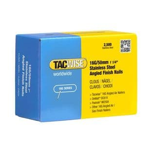 TACWISE 16G X 50MM STAINLESS STEEL ANGLED FINISH NAILS (2,500)