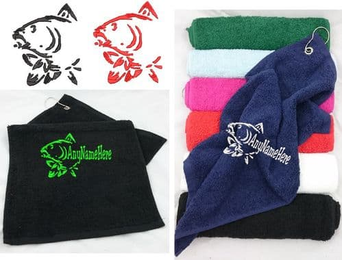 Carps Head design fishing towel with any name Embroidered.